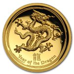 100 $ Dollar Lunar Drache Dragon High Relief Australien 1 oz Gold PP 2012