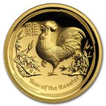 100 $ Dollar Lunar Hahn Rooster High Relief Australien 1 oz Gold PP 2017