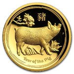 100 $ Dollar Lunar Schwein Pig High Relief Australien 1 oz Gold PP 2019