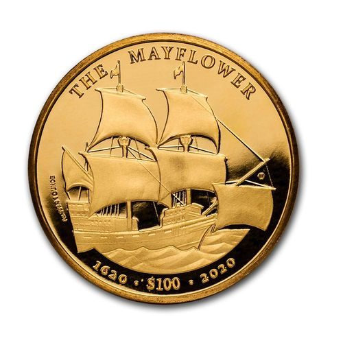 100 $ Dollar 400th Anniversary Mayflower BVI British Virgin Islands 1 oz Gold 2020 **