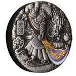 5 $ Dollar Guan Yu High Relief Tuvalu 5 oz Silber Antique Finish 2020 **