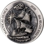 50 Francs Nautical Ounce Mayflower High Relief # 40/4 Ruanda Rwanda 1 oz Silber Antique Finish 2020