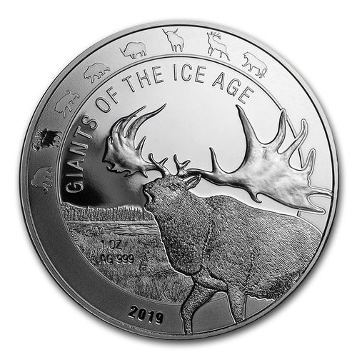 5 Cedis Giants of the Ice Age - Riesenhirsch - Great Horn Megaloceros Ghana 1 oz Silber 2019 **