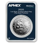 1 $ Dollar Black Flag - The Royal Fortune Tuvalu Apmex MintDirect® Premier 1 oz Silber 2020 **
