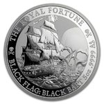 5 $ Dollar Black Flag - Piratenschiff Serie - The Royal Fortune Tuvalu 5 oz Silber BU 2020 **