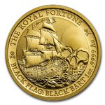 100 $ Dollar Black Flag - Piratenschiff Serie - The Royal Fortune Tuvalu 1 oz Gold BU 2020