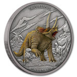 2 $ Dollar Dinosaur - Dinosaurier Collection Triceratops Niue Island 1 oz Silber 2020 **