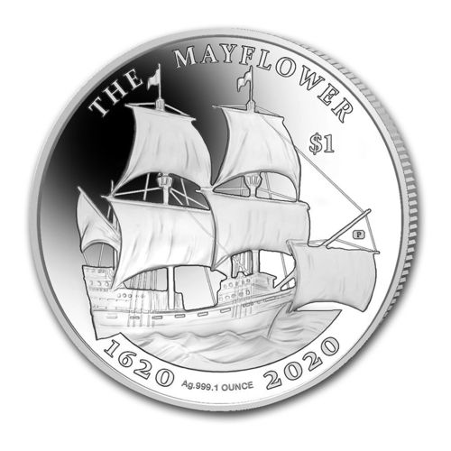 1 $ Dollar 400th Anniversary Mayflower BVI British Virgin Islands 1 oz Silber Prooflike 2020 **