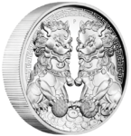 2 $ Dollar Guardian Lions - Double Pixiu High Relief Australien 2 oz Silber PP 2020 **