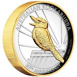 2 $ Dollar Kookaburra Gilded High Relief Australien 2 oz Silber PP 2020 **