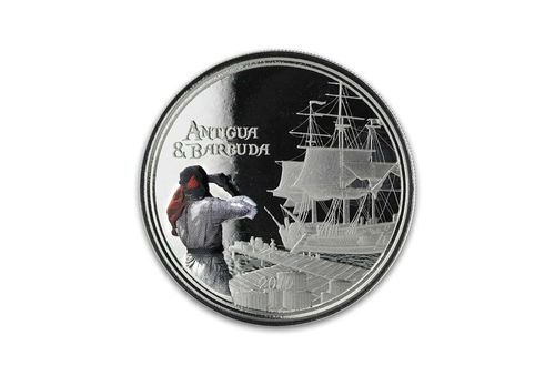 2 $ Dollar EC8 - Eastern Caribbean 8 - Rum Runner Antigua & Barbuda 1 oz Silber PP 2019 **