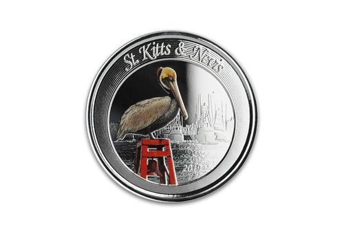2 $ Dollar EC8 - Eastern Caribbean 8 - Brown Pelican St. Kitts & Nevis 1 oz Silber PP 2019 **