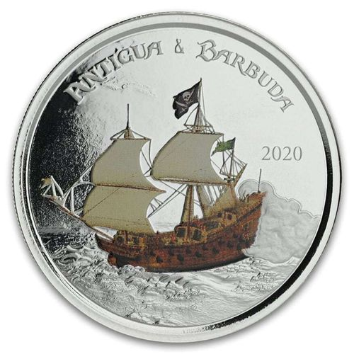 2 $ Dollar EC8 - Eastern Caribbean 8 - Rum Runner Antigua & Barbuda 1 oz Silber PP 2020 **