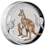 1 $ Dollar Känguru Kangaroo High Relief Coloured - Farbig Australien 1 oz Silber PP 2020 **