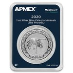 2 $ Dollar Celestial Animals Red Phoenix Apmex MintDirect® Premier Niue Island 1 oz Silber 2020 **