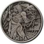 1 $ Dollar Gods of Olympus - Zeus Tuvalu 1 oz Silber Antique Finish 2020 **