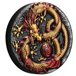 2 $ Dollar Golden Imperial Dragon Coloured High Relief Tuvalu 2 oz Silber Antique Finish 2020 **
