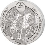 50 Francs Lunar Ounce Year of the Ox - Ochse Ruanda 1 oz Silber BU 2021 **