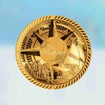 25 $ Dollar 400th Anniversary of the Mayflower Dome Shaped Solomon Islands 40 Gramm Gold 2020