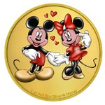 2 $ Dollar Disney Mickey & Minnie Mouse Niue Island 1 oz Silber vergoldet 2020