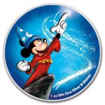 2 $ Dollar Disney Mickey Mouse Fantasia Night Blue Magic Niue Island 1 oz Silber 2020