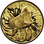 100 Dollar Australia's Most Dangerous - Great White Shark - Weisser Hai Australien 1 oz Gold 2021 **