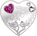 5 $ Dollar Happy Valentine's Day 2021 – Silver Hearts - Herz Cook Islands Silber PP 2021 **