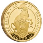 100 Pfund Pounds The Queen's Beasts White Greyhound of Richmond Grossbritannien 1 oz Gold PP 2021