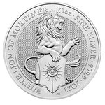 10 Pfund Pounds The Queen's Beasts White Lion of Mortimer Grossbritannien UK 10 oz Silber 2021 **
