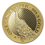 100 Pounds Pfund Cash India Wildlife - The Peacock - Pfau St. Helena 1 oz Gold 2020