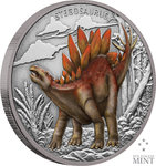 2 $ Dollar Dinosaur - Dinosaurier Collection Stegosaurus Niue Island 1 oz Silber 2020 **