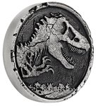 5 $ Dollar Jurassic World High Relief Silver Antiqued Cracked Coin Niue Island 2 oz Silber 2021 **