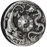 2 $ Dollar Dragon and Tiger with Bagua Tuvalu 2 oz Silber Antique Finish 2021 **