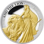 1 Pound Pfund Una and the Lion Proof St. Helena 1 oz Silber Gilded PP 2020 **