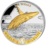 20 Francs World's Wildlife - Humpback Whale - Buckelwal - gilded  Kongo Congo 1 oz Silber 2020 **