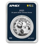 10 Yuan Chinese Panda China Apmex MintDirect® Premier + PCGS First Strike 30 Gramm Silber 2021 **