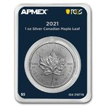 5 $ Dollar Silver Maple Leaf Kanada Apmex MintDirect® Premier PCGS First Strike 1 oz Silber 2021 **