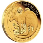 15 $ Dollar Australian Kangaroo Gold Proof - Känguru 1/10 oz Gold PP 2021