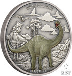2 $ Dollar Dinosaur - Dinosaurier Collection Brontosaurus Niue Island 1 oz Silber 2021 **