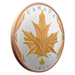 50 $ Dollar Maple Leaf Leaves in Motion Yellow + Rose Gold Plated Kanada 5 oz Silber 2021 **
