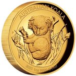100 $ Dollar Koala High Relief Australien 1 oz Gold PP 2021