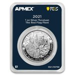 1 Dollar Black Flag Red Flag Fleet MintDirect® Premier PCGS First Strike Tuvalu 1 oz Silber 2021 **